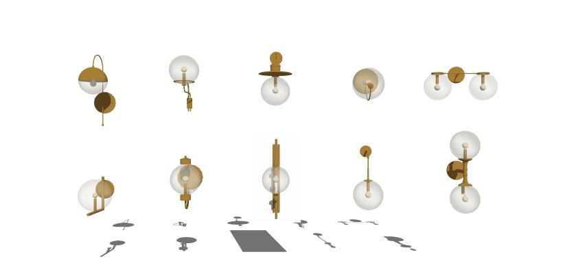 現代壁燈組合2SU模型【ID:347730908】