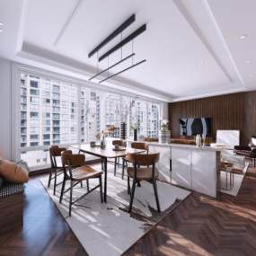現代簡約輕奢風格客廳餐廳3D模型【ID:548155033】