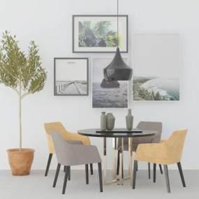 北欧餐桌椅3D模型【ID:836089870】