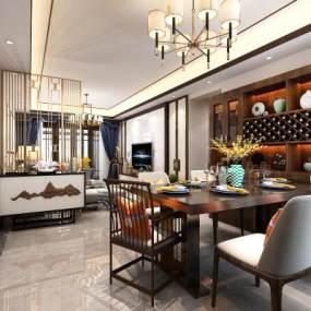 新中式客餐厅3D模型【ID:536068062】