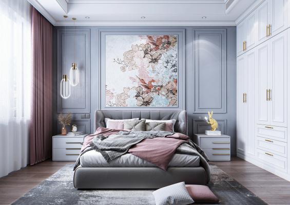 简美风格卧室 床 衣柜