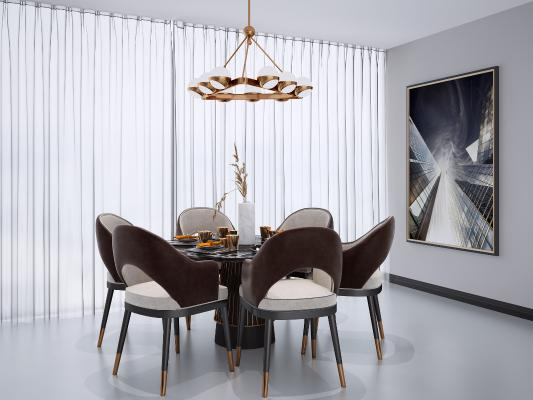 現代圓形餐桌椅組合3D模型【ID:848153840】