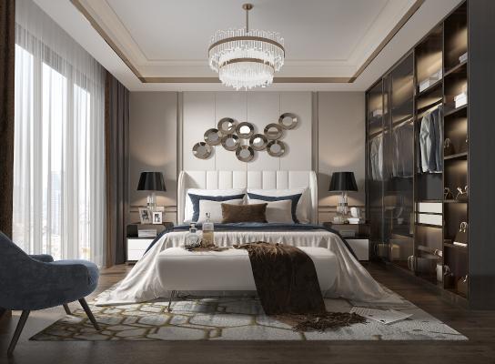 现代轻奢卧室3D模型【ID:552450289】