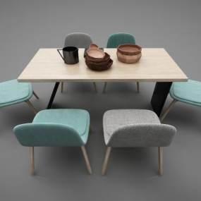 现代风格餐桌3D模型【ID:852648891】