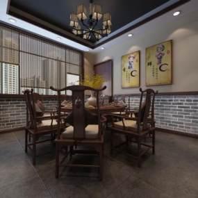新中式餐廳包間3D模型【ID:646957838】