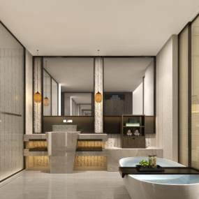 酒店客房卫生间 3D模型【ID:441328118】