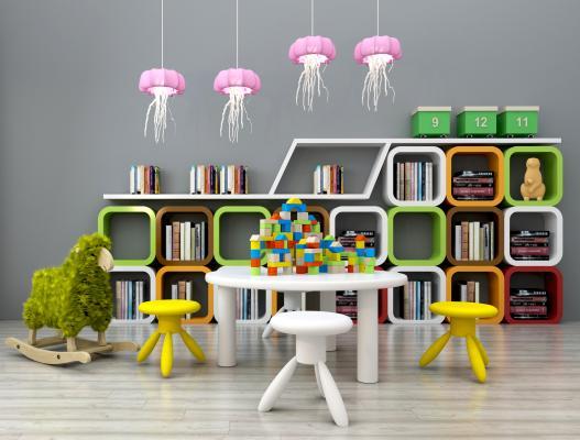 现代儿童书架儿童读物桌椅玩具组合3D模型【ID:930558317】