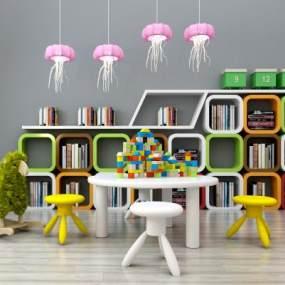 现代儿童书架儿童读物桌椅玩具组合365彩票【ID:930558317】