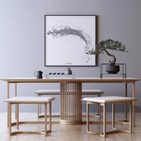 新中式桌椅组合3D模型【ID:742276452】