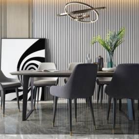 現代餐廳餐桌椅3D模型【ID:851461832】