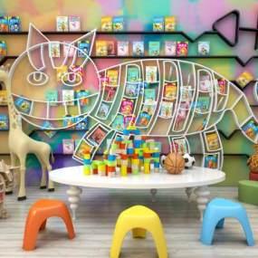 现代儿童书架儿童读物桌椅玩具组合365彩票【ID:930556353】