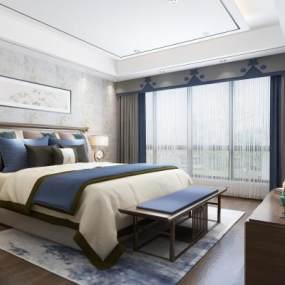 新中式卧室 3D模型【ID:541412259】