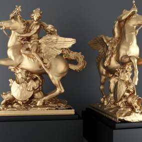 北欧天使骑马雕塑3D模型【ID:335806078】