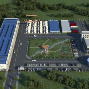 现代化工厂厂房鸟瞰规划3D模型【ID:234950052】
