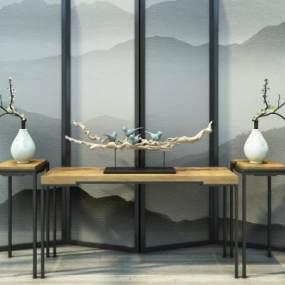 新中式屏风案几组合3D模型【ID:234915595】