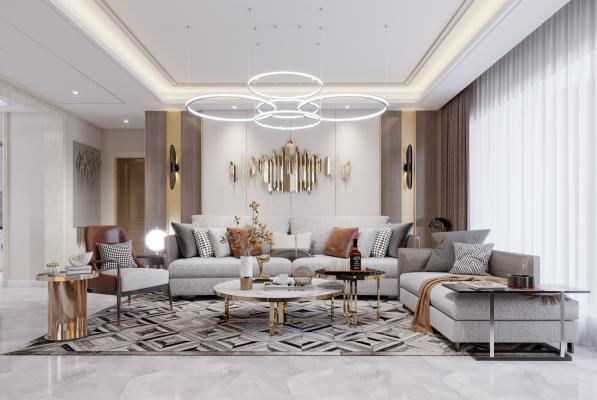 现代轻奢客厅3D模型【ID:550932004】