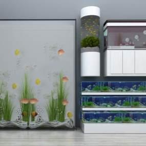 现代玻璃鱼缸3D模型【ID:330595684】