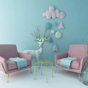 北欧少女粉休闲沙发3D模型【ID:635616542】