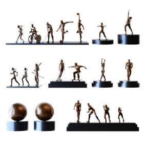 現代金屬抽象運動小人裝飾擺件3D模型【ID:343877078】