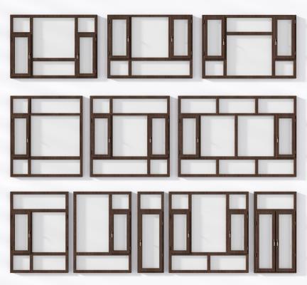 現代鋁合金窗3D模型【ID:341622223】