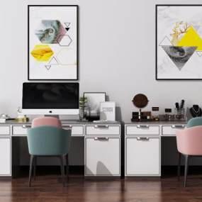 现代书桌椅组合3D模型【ID:949036095】