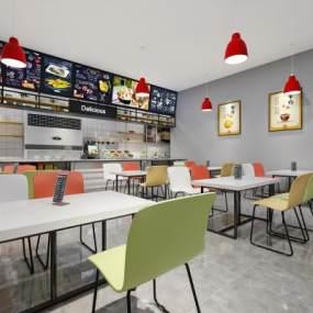 現代食堂餐廳3D模型【ID:652199216】