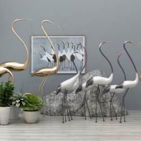 现代天鹅摆件雕塑组合3D模型【ID:235468518】