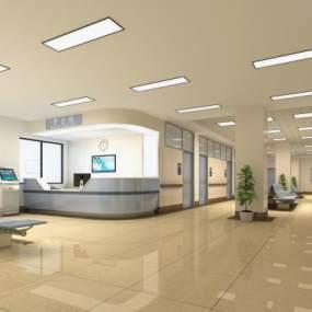 現代醫院護士站3D模型【ID:947550766】