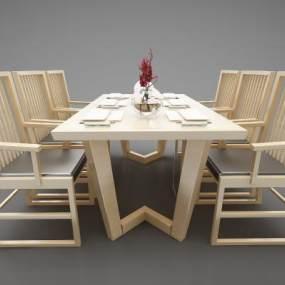 現代風格餐桌3D模型【ID:846936836】