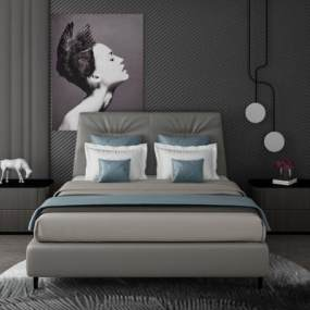 现代卧室双人床3D模型【ID:842571716】