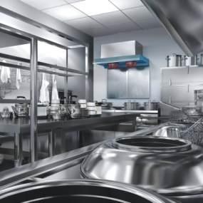 现代酒店厨房后厨3D模型【ID:647081649】