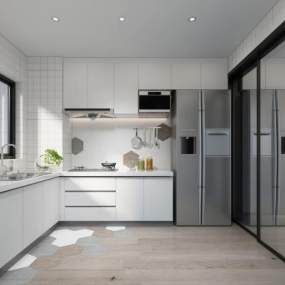 现代厨房3D模型【ID:533805352】