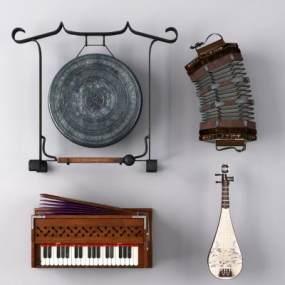 乐器锣琵琶簧风琴六角形风琴3D模型【ID:330593977】