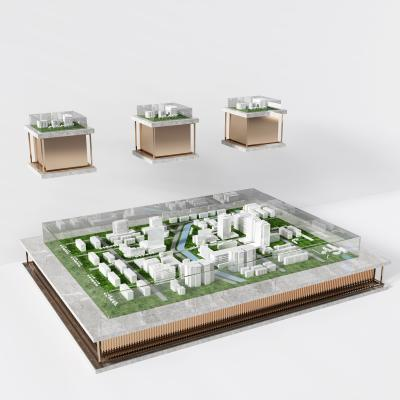 現代售樓處俯瞰圖規劃沙盤3D模型【ID:235256003】