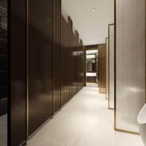 现代酒店公共卫生间3D模型【ID:446225137】