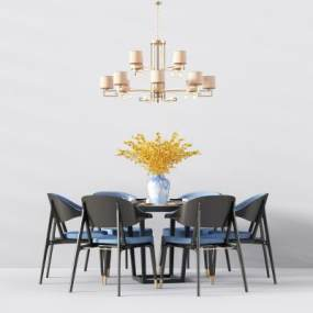 新中式餐桌椅桌椅吊灯组合3D快三追号倍投计划表【ID:833340896】