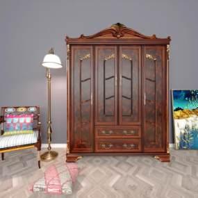 欧式实木衣柜3D模型【ID:132737453】