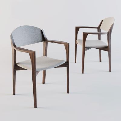 現代木藝椅子3D模型【ID:746640169】
