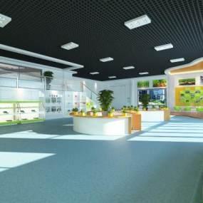 现代农产品车间展厅3D模型【ID:933688769】