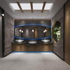 新中式酒店餐厅公用卫生间3D模型【ID:443763139】
