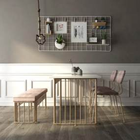 北欧轻奢桌椅组合 3D模型【ID:841705839】