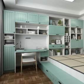 现代榻榻米卧室3D模型【ID:533090240】