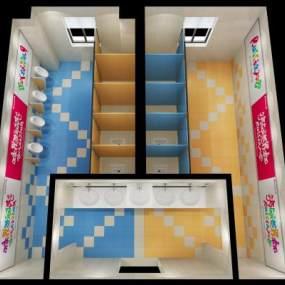现代学校卫生间3D模型【ID:932748606】