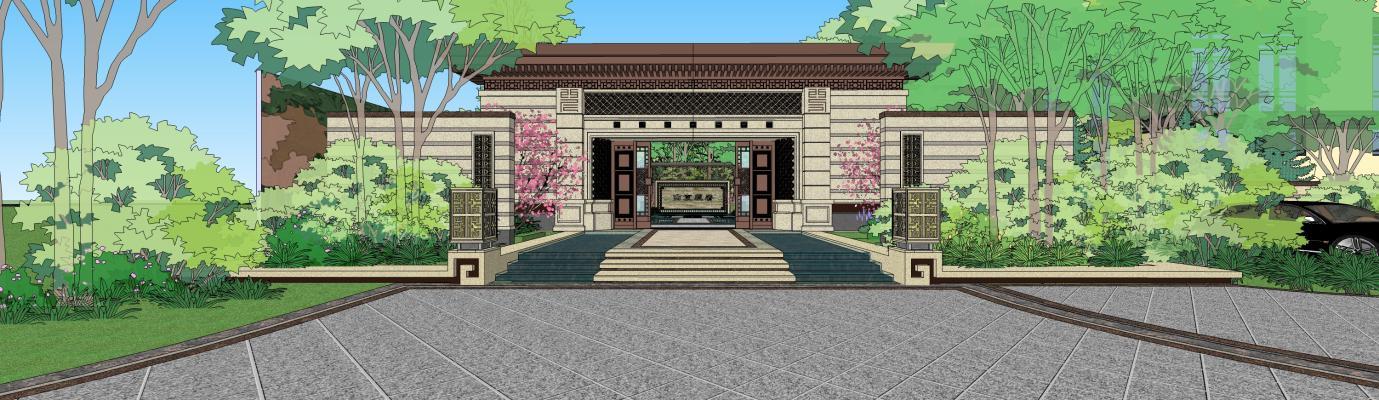 現代龍湖西宸原著建筑景觀SU模型【ID:746672039】
