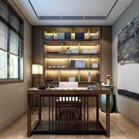 新中式书房3D模型【ID:533572473】