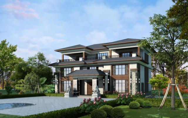新中式建筑別墅3D模型【ID:145550312】