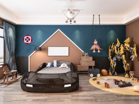 現代男孩兒童房3D模型【ID:552280756】