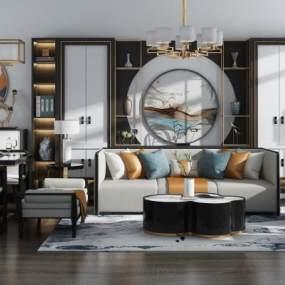 新中式沙发茶几餐桌椅组合3D模型【ID:635801727】