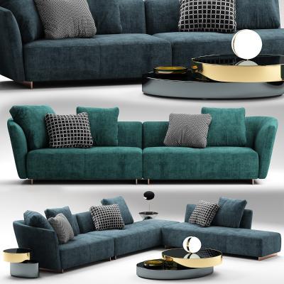 意大利Minotti米洛提现代沙发茶几组合国外3D模型【ID:632304724】
