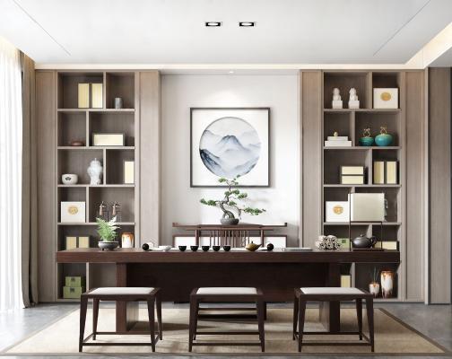 新中式书房3D模型【ID:543379441】